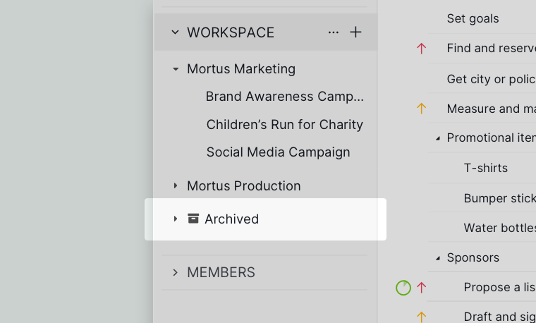 archive project in sidebar