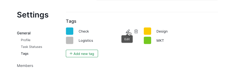 manage tags in project settings