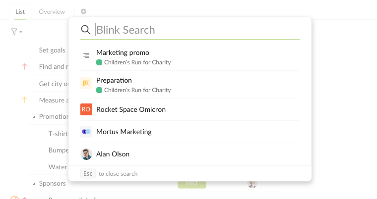 blink search popup