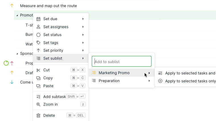 right click to add tasks to sublist