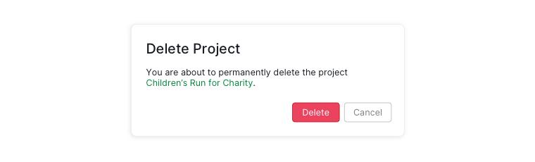delete project dialogue