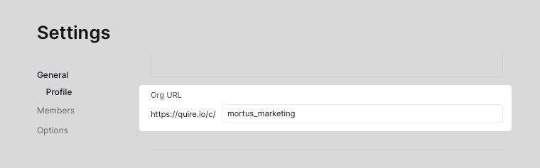 edit organization URL