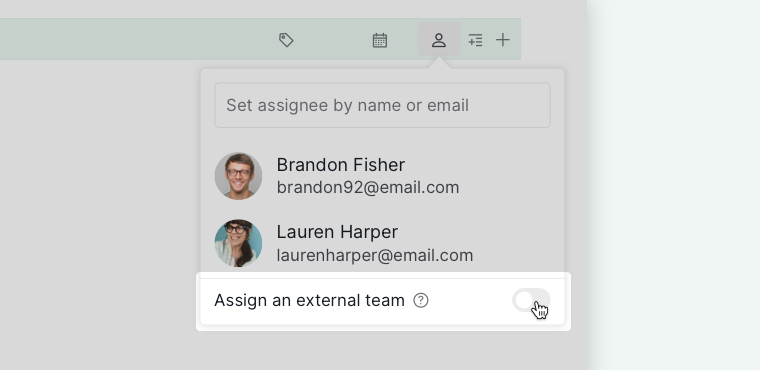 assign tasks to external team