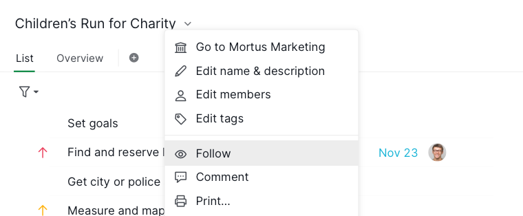 follow project context menu