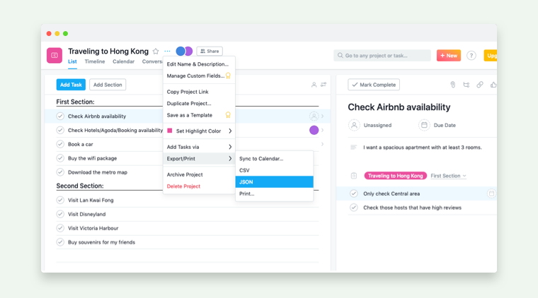 migrate from Asana