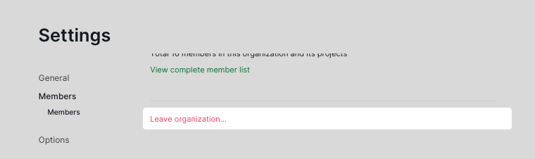 leave organization in settings page