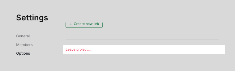 leave project in settings page