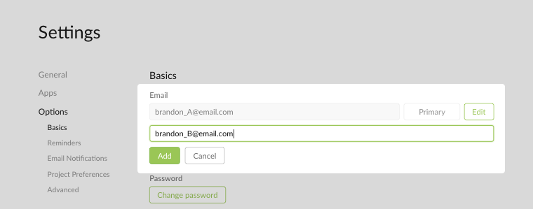 add second email in account settings