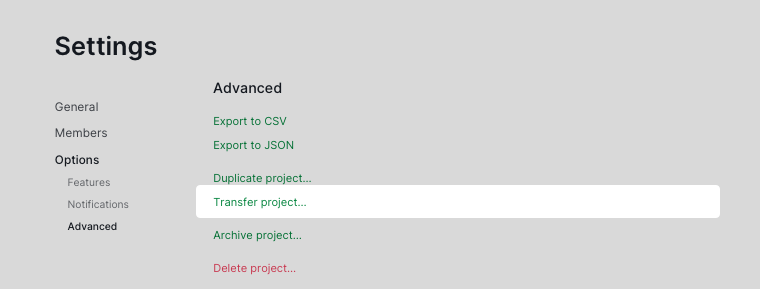 transfer project settings page