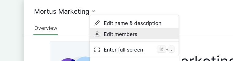edit members organization context menu