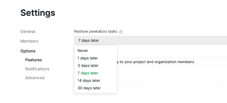 reshow peekaboo tasks in settings