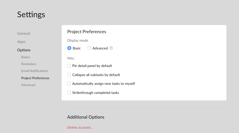 project preferences
