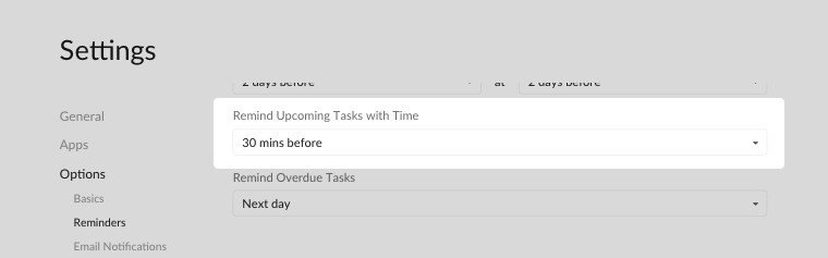 remind upcoming tasks with time