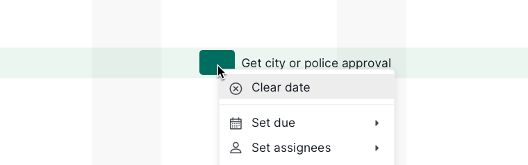 clear date in the timeline view