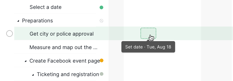 set date in timeline view