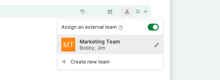 use external team for a group