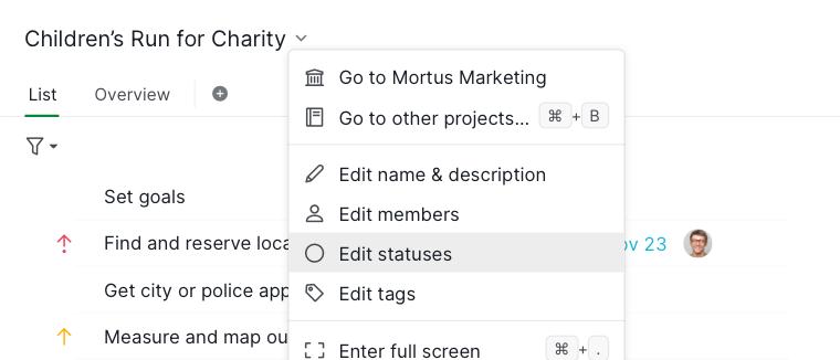 edit status