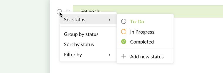 set status in main panel